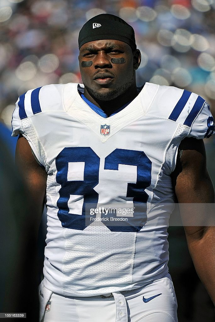 <a gi-track='captionPersonalityLinkClicked' href=/galleries/search?phrase=Dwayne+Allen&family=editorial&specificpeople=5292364 ng-click='$event.stopPropagation()'>Dwayne Allen</a> #83 of the Indianapolis Colts on the sideline during a game against the Tennessee Titans at LP Field on October 28, 2012 in Nashville, Tennessee.