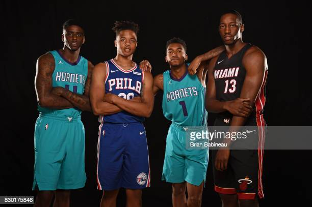 Dwayne Bacon Markelle Fultz Malik Monk and Bam Adebayo pose for a photo during the 2017 NBA Rookie Photo Shoot at MSG training center on August 11...