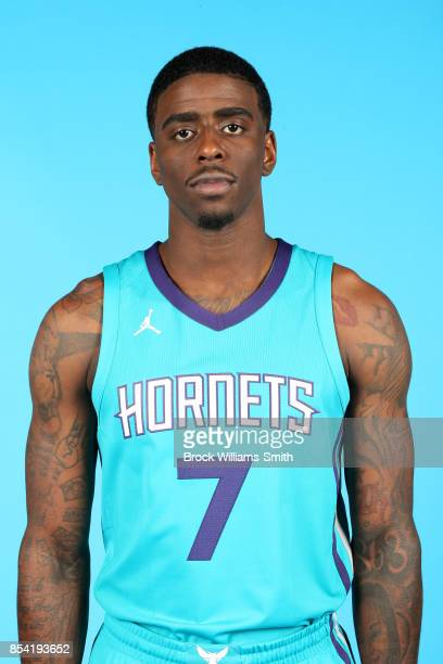 Dwayne Bacon of the Charlotte Hornets poses for a head shot during media day at Spectrum Center in Charlotte North Carolina NOTE TO USER User...