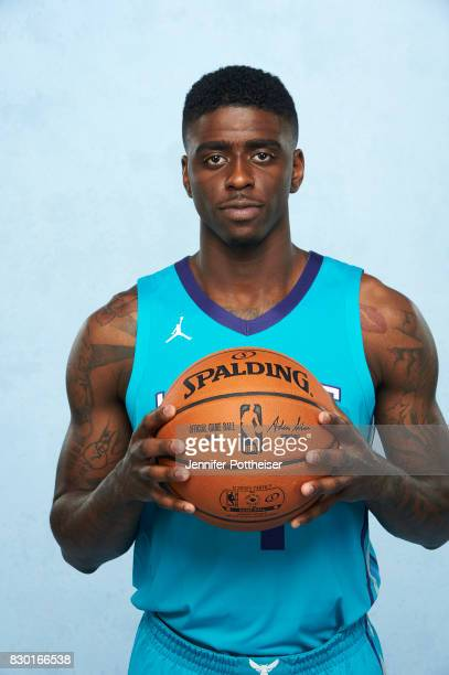 Dwayne Bacon of the Charlotte Hornets poses for a photo during the 2017 NBA Rookie Shoot on August 11 2017 at the Madison Square Garden Training...