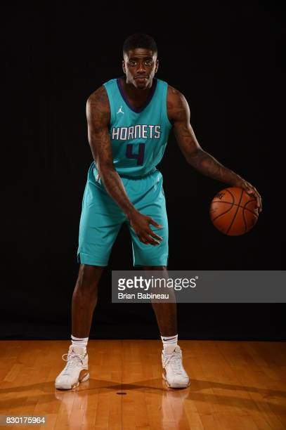 Dwayne Bacon of the Charlotte Hornets poses for a photo during the 2017 NBA Rookie Photo Shoot at MSG training center on August 11 2017 in Tarrytown...