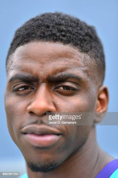 Dwayne Bacon of the Charlotte Hornets poses for a portrait during the 2017 NBA rookie photo shoot on August 11 2017 at the Madison Square Garden...