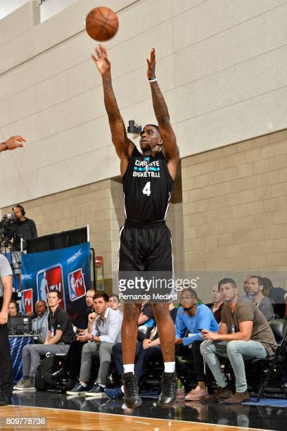 Dwayne Bacon of the Charlotte Hornets shoots the ball against the Orlando Magic during the Mountain Dew Orlando Pro Summer League on July 6 2017 at...