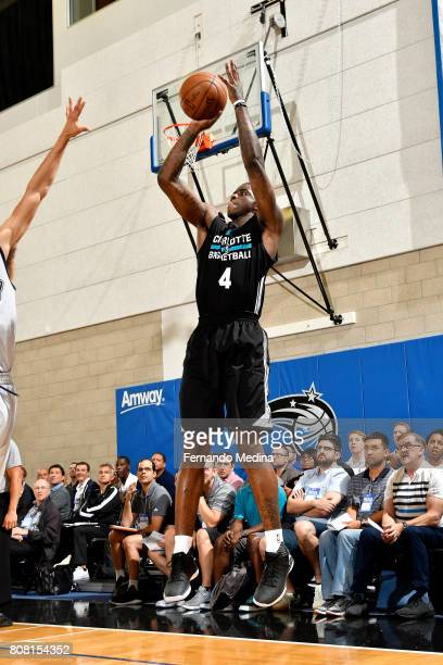 Dwayne Bacon of the Charlotte Hornets shoots the ball during the game against the Oklahoma City Thunder during the 2017 Orlando Summer League on July...