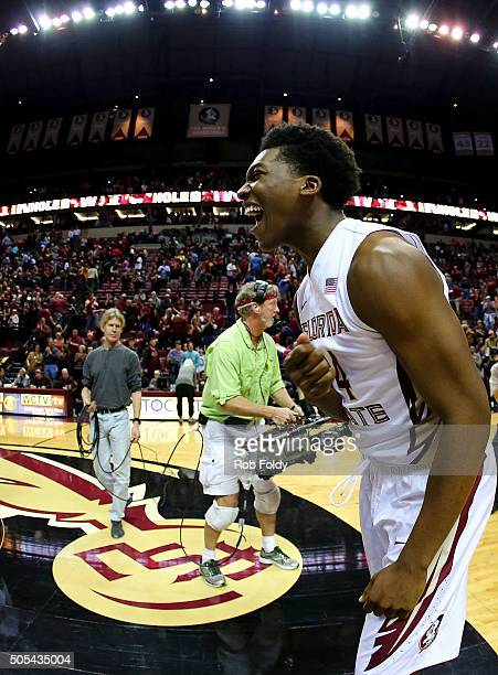 Dwayne Bacon of the Florida State Seminoles celebrates after the game against the Virginia Cavaliers at Donald L Tucker Center on January 17 2016 in...