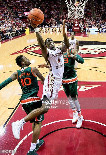 Dwayne Bacon of the Florida State Seminoles in action during the game against the Miami Hurricanes at the Donald L Tucker Center on February 14 2016...