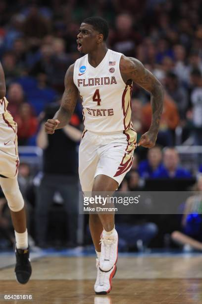 Dwayne Bacon of the Florida State Seminoles reacts in the first half against the Florida Gulf Coast Eagles during the first round of the 2017 NCAA...