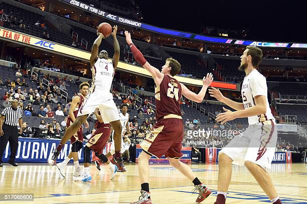 Dwayne Bacon of the Florida State Seminoles takes a shot during the first round game of the ACC Tournament against the Boston College Eagles at the...