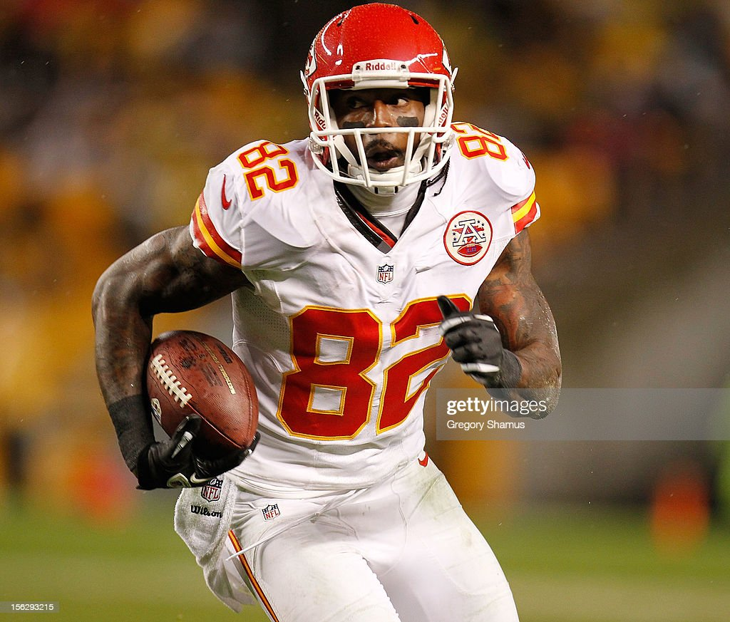 <a gi-track='captionPersonalityLinkClicked' href=/galleries/search?phrase=Dwayne+Bowe&family=editorial&specificpeople=2139865 ng-click='$event.stopPropagation()'>Dwayne Bowe</a> #82 of the Kansas City Chiefs looks for running room after a third quarter catch while playing the Pittsburgh Steelers at Heinz Field on November 12, 2012 in Pittsburgh, Pennsylvania. Pittsburgh won the game 16-13 in overtime.