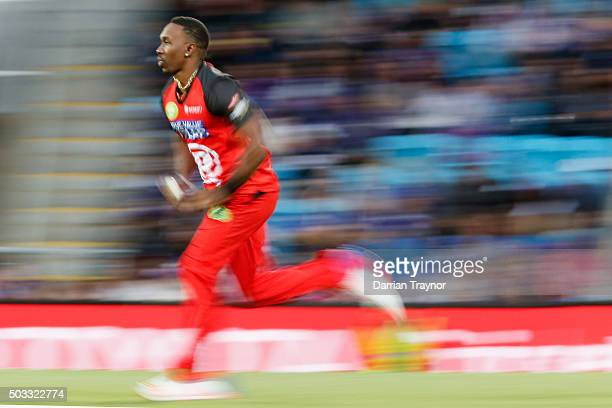 Dwayne Bravo of the Melbourne Renegades bowls during the Big Bash League match between the Hobart Hurricanes and the Melbourne Renegades at...