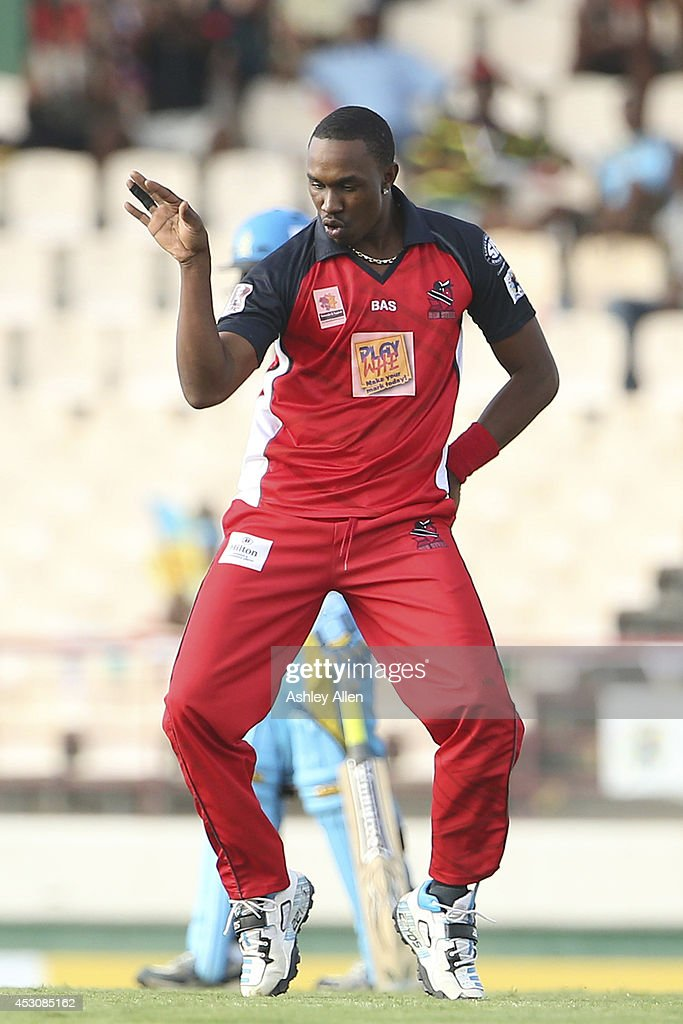 Dwayne Bravo of The Red Steel dances after getting a wicket during a match between St. Lucia Zouks and The Trinidad and Tobago Red Steel as part of week 4 of the Limacol Caribbean Premier League 2014 at Beausejour Stadium on August 02, 2014 in Castries, St. Lucia.