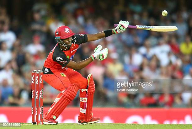Dwayne Bravo of the Renegades bats during the Big Bash League match between the Melbourne Renegades and the Sydney Sixers at Etihad Stadium on...