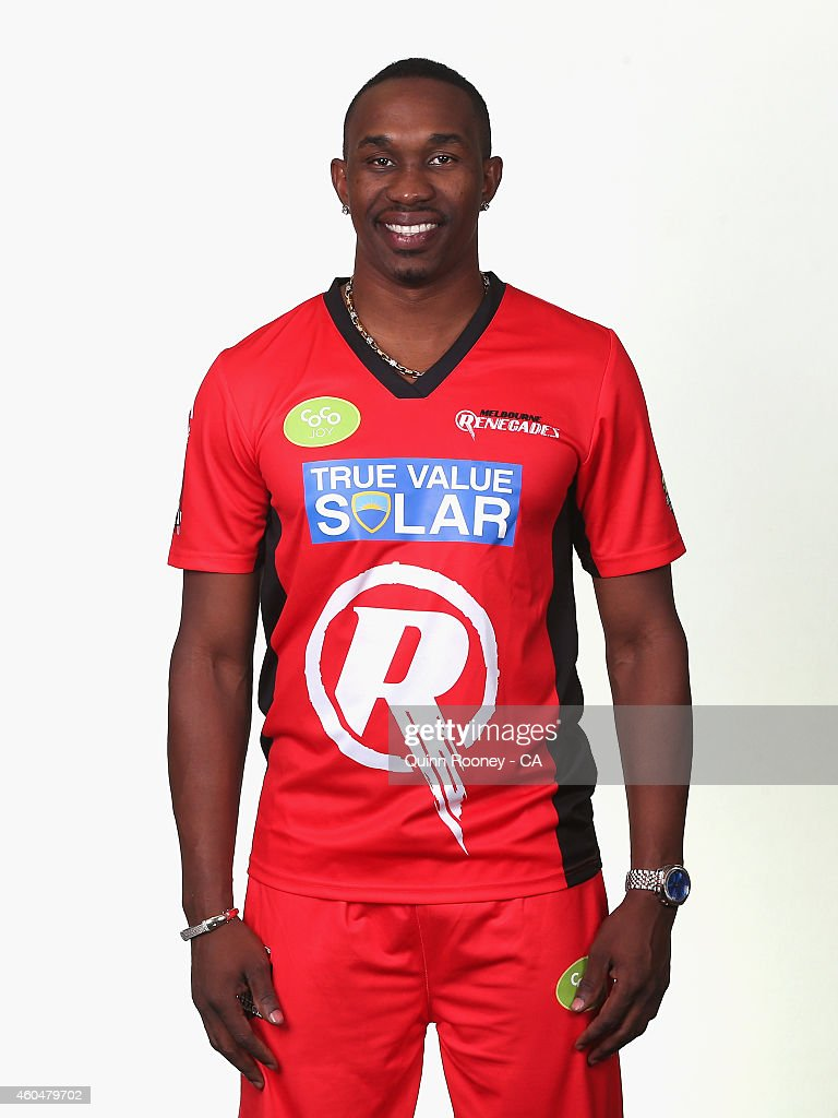 <a gi-track='captionPersonalityLinkClicked' href=/galleries/search?phrase=Dwayne+Bravo&family=editorial&specificpeople=178945 ng-click='$event.stopPropagation()'>Dwayne Bravo</a> of the Renegades poses during the Melbourne Renegades Big Bash League headshots session at Soniq Headquarters on December 15, 2014 in Melbourne, Australia.