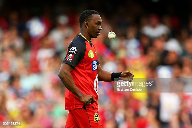 Dwayne Bravo of the Renegades prepares to bowl during the Big Bash League match between the Melbourne Renegades and the Adelaide Strikers at Etihad...