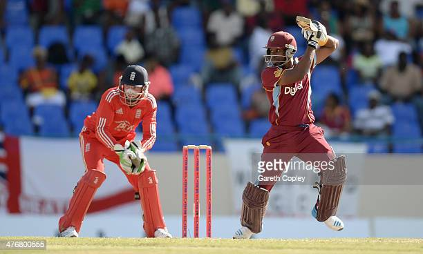 Dwayne Bravo of the West Indies bats during the 3rd One Day International between the West Indies and England at Sir Viv Richards Cricket Ground on...