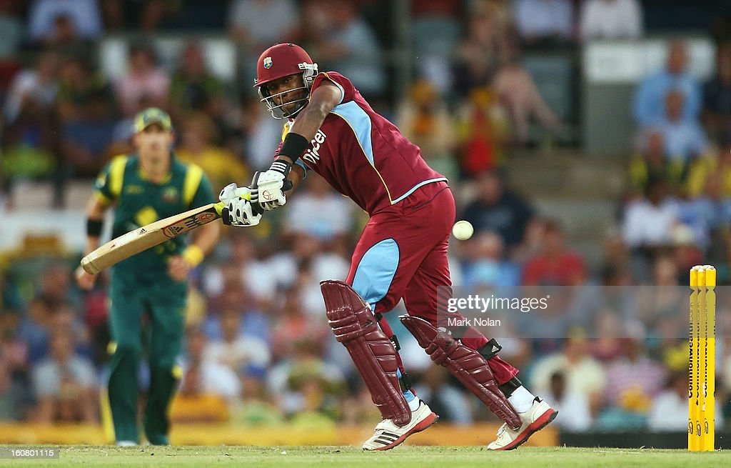 Dwayne Bravo of the West Indies bats during the Commonwealth Bank One Day International Series between Australia and the West Indies at Manuka Oval on February 6, 2013 in Canberra, Australia.