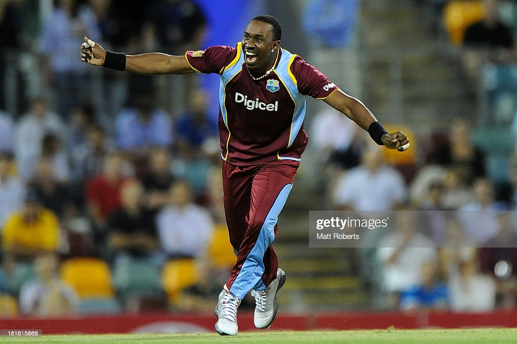 Dwayne Bravo of the West Indies celebrates a wicket during the International Twenty20 match between Australia and the West Indies at The Gabba on February 13, 2013 in Brisbane, Australia.