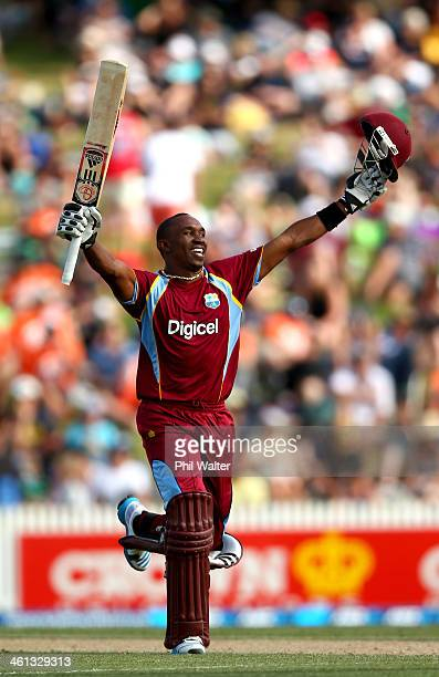 Dwayne Bravo of the West Indies celebrates his century during game five of the One Day International Series between New Zealand and the West Indies...