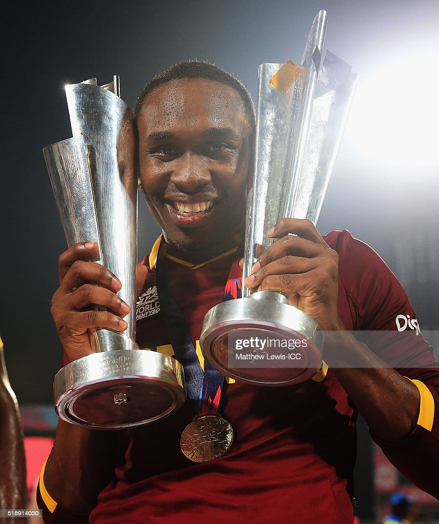 <a gi-track='captionPersonalityLinkClicked' href=/galleries/search?phrase=Dwayne+Bravo&family=editorial&specificpeople=178945 ng-click='$event.stopPropagation()'>Dwayne Bravo</a> of the West Indies celebrates his teams win after defeating England during the ICC World Twenty20 India 2016 Final between England and West Indies at Eden Gardens on April 3, 2016 in Kolkata, India.