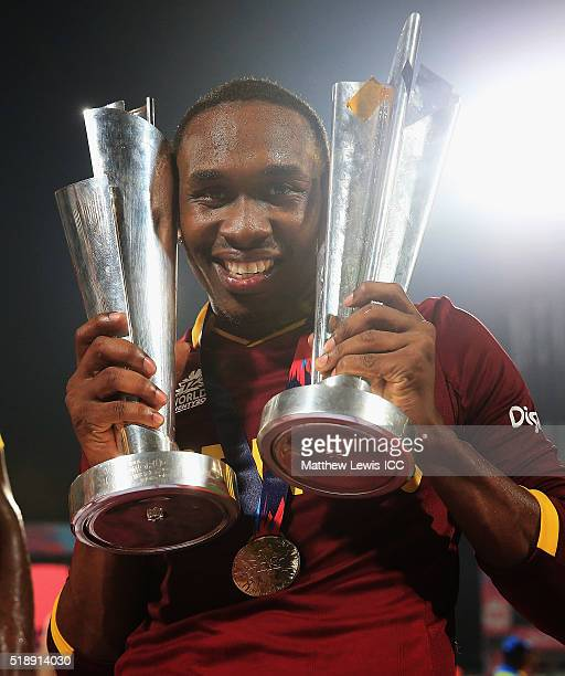 Dwayne Bravo of the West Indies celebrates his teams win after defeating England during the ICC World Twenty20 India 2016 Final between England and...
