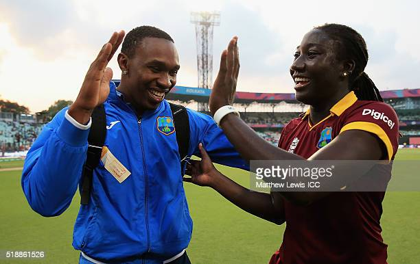 Dwayne Bravo of the West Indies celebrates with Stafanie Taylor Captain of the West Indies after her team won the Women's ICC World Twenty20 Final...