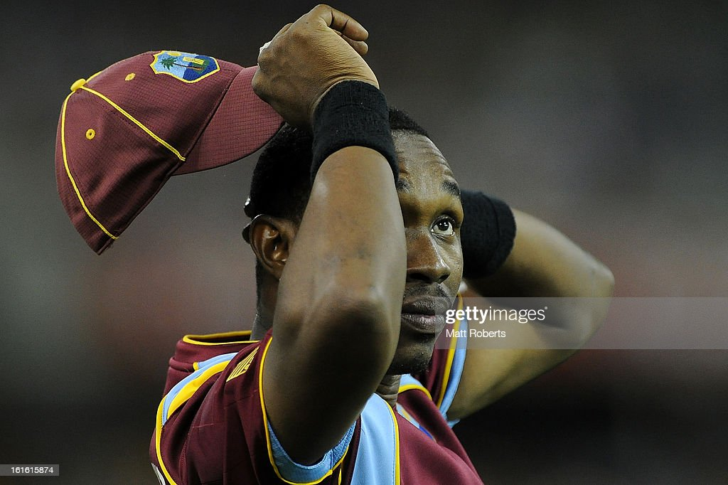 Dwayne Bravo of the West Indies looks on in the outfield during the International Twenty20 match between Australia and the West Indies at The Gabba on February 13, 2013 in Brisbane, Australia.