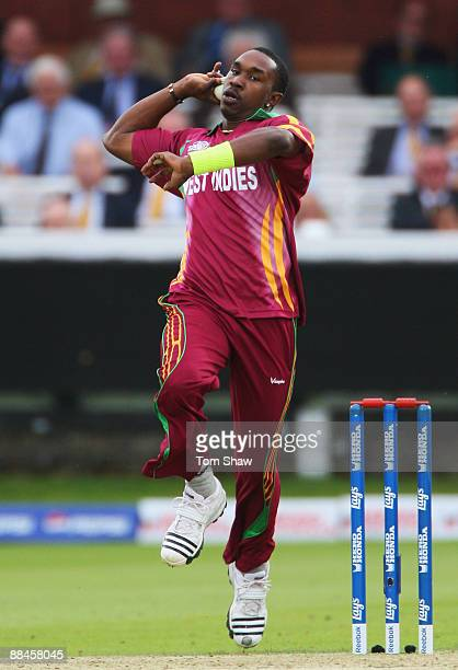 Dwayne Bravo of West Indies bowls during the ICC World Twenty20 Super Eights match between India and West Indies at Lord's on June 12 2009 in London...