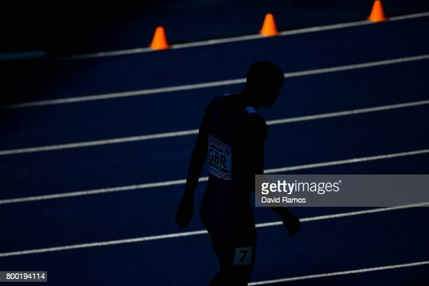 Dwayne Cowan of Great Britain looks on before competing in the Men's 400m heat 1 during day 1 of the European Athletics Team Championships at the...