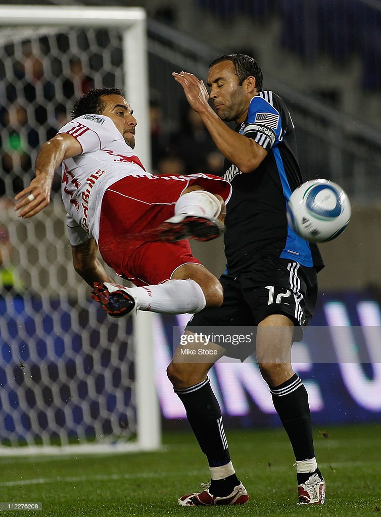 Dwayne De Rosario of the New York Red Bulls plays the ball against Ramiro Corrales of the San Jose Earthquakes on April 16 2011 at Red Bull Arena in...