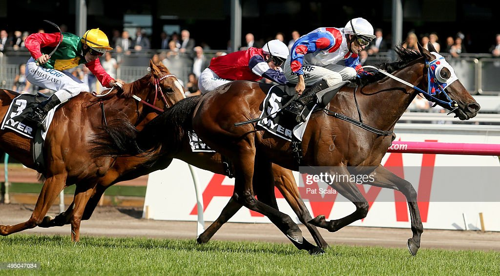 Dwayne Dunn rides Politeness to win race 8 The Myer Classic on Derby Day at Flemington Racecourse on October 31 2015 in Melbourne Australia