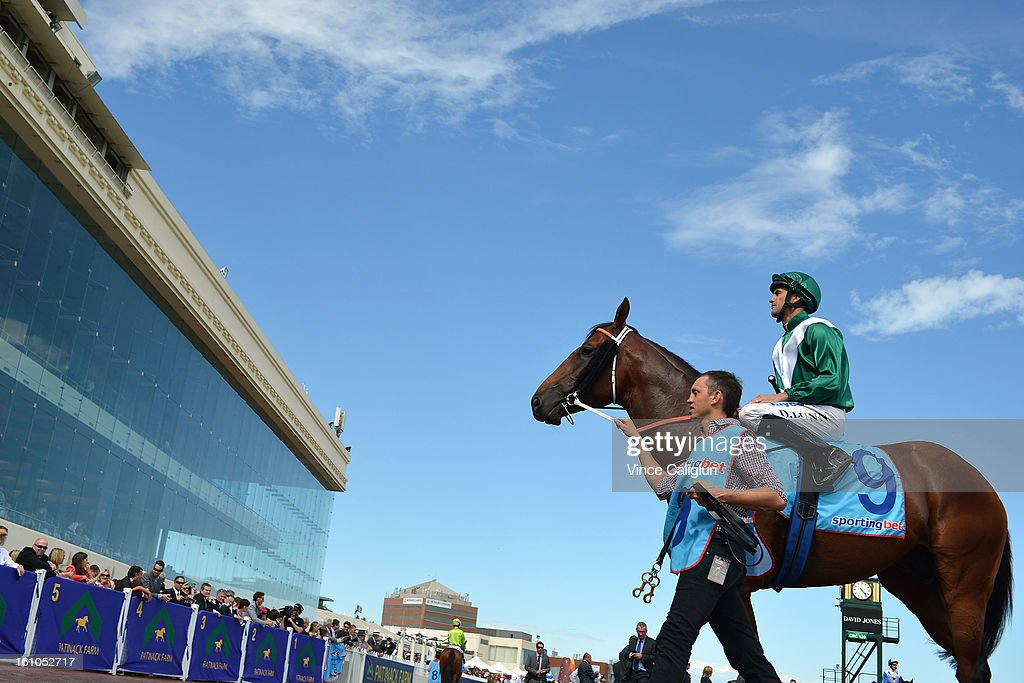 Dwayne Dunn riding All To Hard in the mounting yard before winning the Sportingbet C.F.Orr Stakes during Melbourne Racing at Caulfield Racecourse on February 9, 2013 in Melbourne, Australia.