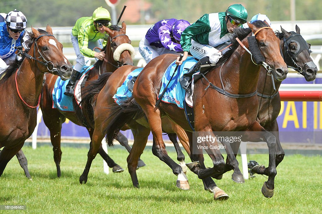 Dwayne Dunn riding All To Hard wins the Sportingbet C.F.Orr Stakes during Melbourne Racing at Caulfield Racecourse on February 9, 2013 in Melbourne, Australia.