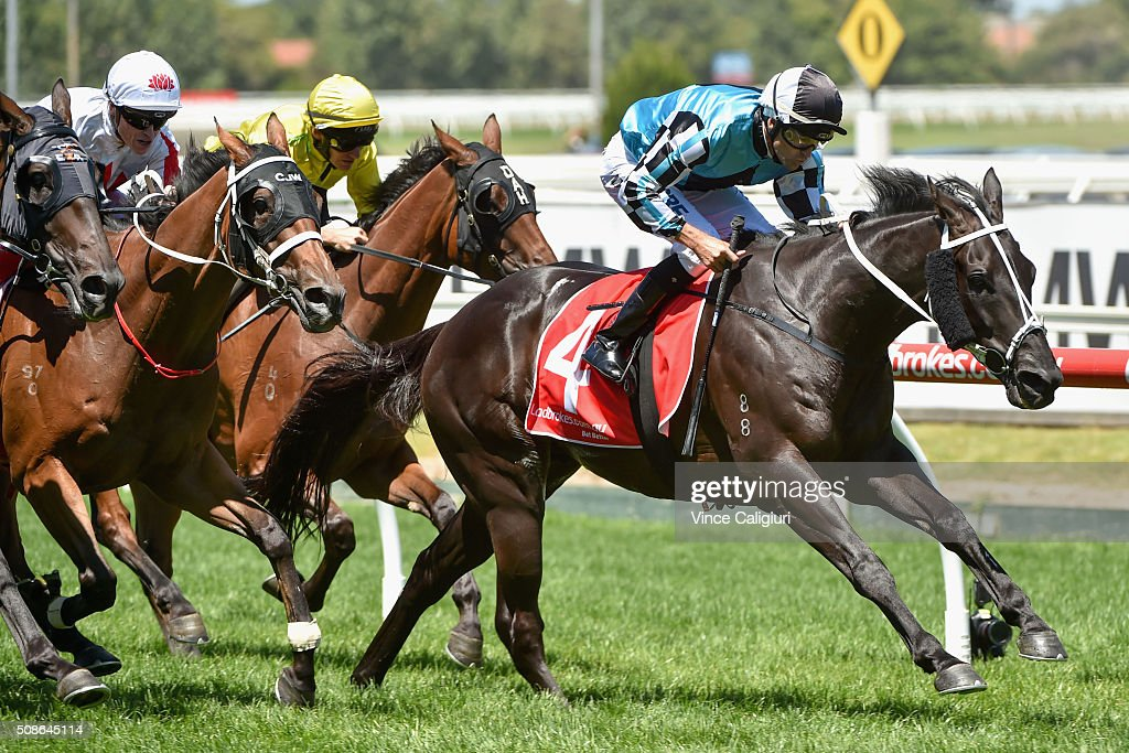 Dwayne Dunn riding Black Jag wins Race 2, during Melbourne Racing at Caulfield Racecourse on February 6, 2016 in Melbourne, Australia.