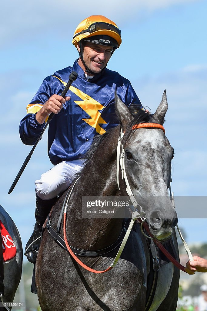 Dwayne Dunn riding Chautauqua after winning Race 7, the Black Caviar Lightning during Black Caviar Lightning Stakes Day at Flemington Racecourse on February 20, 2016 in Melbourne, Australia.