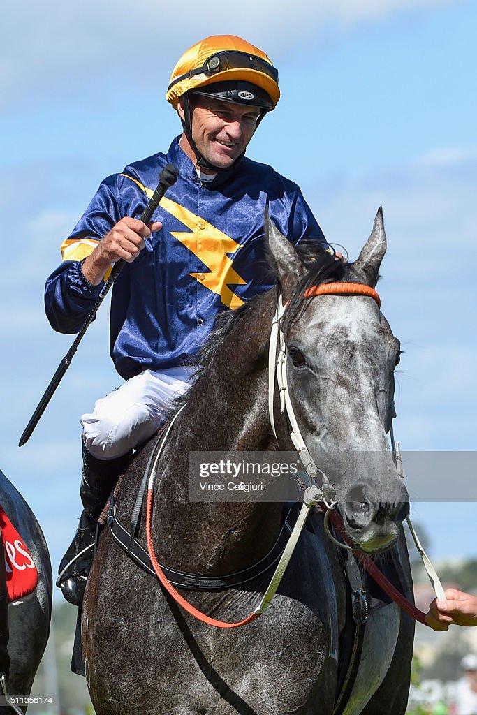 Dwayne Dunn riding Chautauqua after winning Race 7, the Black Caviar Lightning during Black Caviar Lightning Stakes Day at Flemington Racecourse on February 20, 2016 in Melbourne, Australia.
