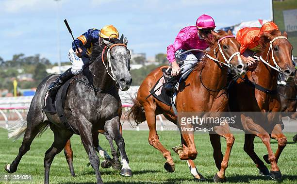 Dwayne Dunn riding Chautauqua defeats Damien Oliver riding Terravista and Glyn Schofield riding Japonisme in Race 7 the Black Caviar Lightning during...