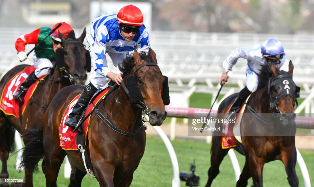 Dwayne Dunn riding Harlem wins Race 7, MRC Foundation Cup during Melbourne Racing at Caulfield Racecourse on September 23, 2017 in Melbourne, Australia.