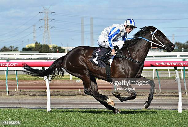 Dwayne Dunn riding Herstory wins Race 5 during Melbourne Racing at Flemington Racecourse on July 18 2015 in Melbourne Australia