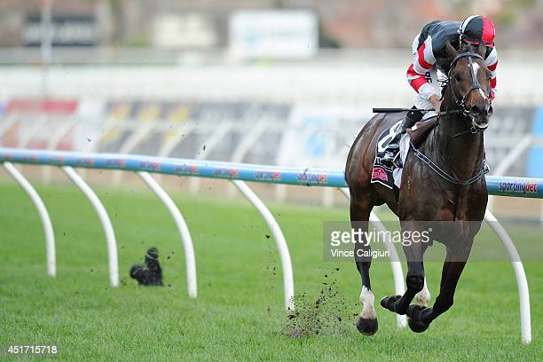 Dwayne Dunn riding Lord of the Sky wins Race 6 the Polytrack Sir John Monash Stakes during Melbourne racing at Caulfield Racecourse on July 5 2014 in...