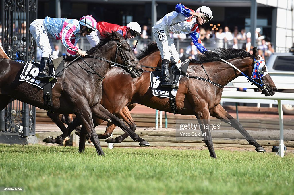 Dwayne Dunn riding Politeness wins Race 8 the Myer Classic on Derby Day at Flemington Racecourse on October 31 2015 in Melbourne Australia