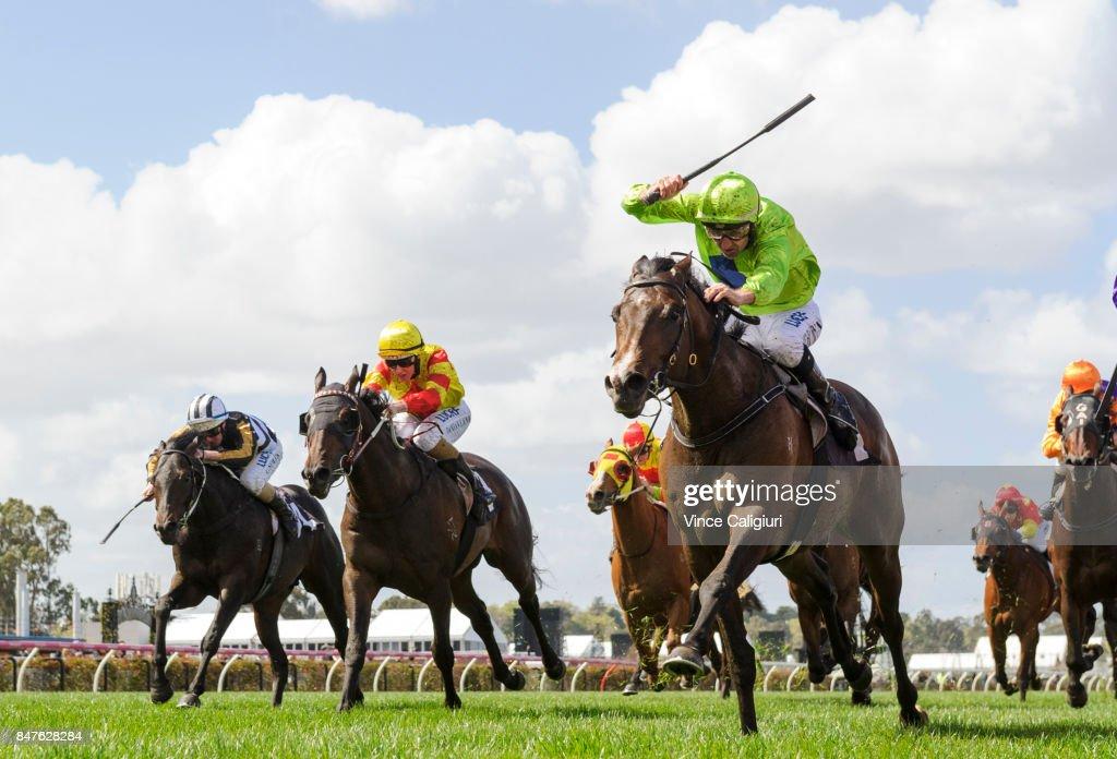 Dwayne Dunn riding Royal Symphony wins Race 2, during Melbourne Racing at Flemington Racecourse on September 16, 2017 in Melbourne, Australia.