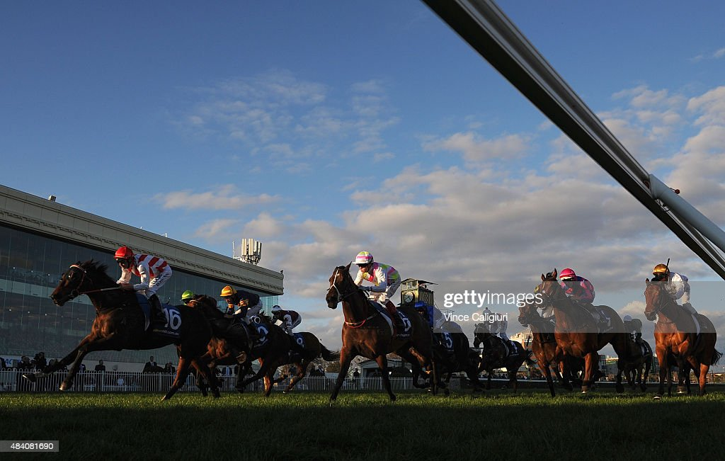 Dwayne Dunn riding Sentinum wins Race 8 the Regal Roller during Melbourne racing at Caulfield Racecourse on August 15 2015 in Melbourne Australia