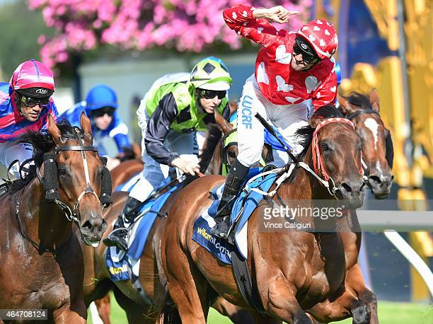 Dwayne Dunn riding Shamal Wind reacts after winning Race 7 William Hill Oakleigh Plate during Blue Diamond Day at Caulfield Racecourse on February 28...