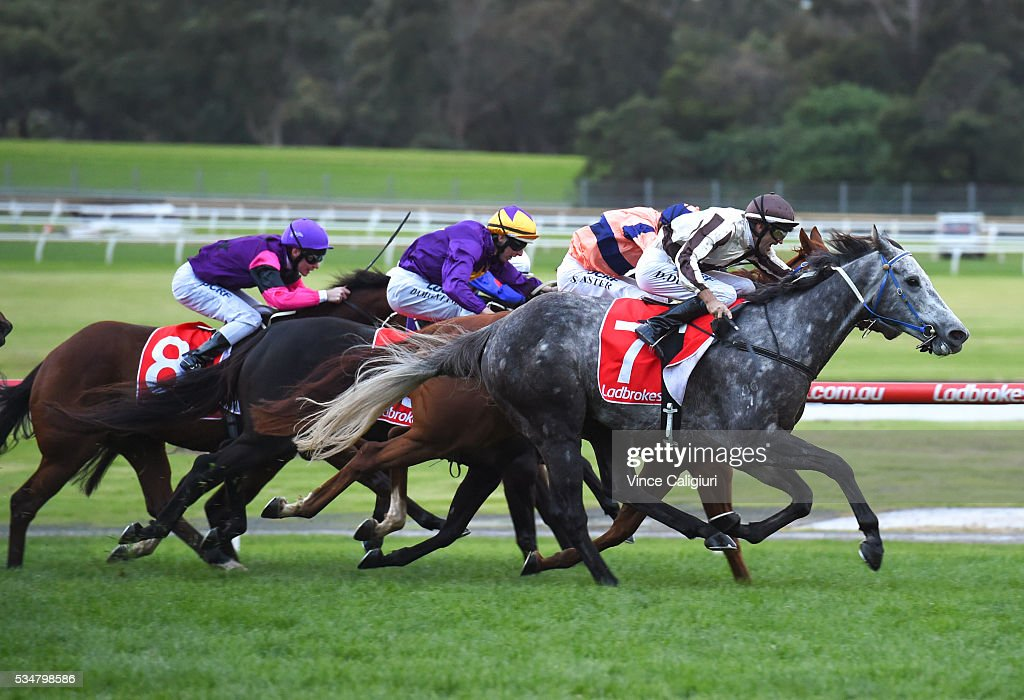 <a gi-track='captionPersonalityLinkClicked' href=/galleries/search?phrase=Dwayne+Dunn&family=editorial&specificpeople=877062 ng-click='$event.stopPropagation()'>Dwayne Dunn</a> riding Spreadeagled wins Race 9 during Melbourne Racing at Sandown Lakeside on May 28, 2016 in Melbourne, Australia.