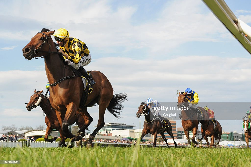 Dwayne Dunn riding Stay With Me winning Race 8 Schweppes Thousand Guineas during Caulfield Guineas Day at Caulfield Racecourse on October 10 2015 in...