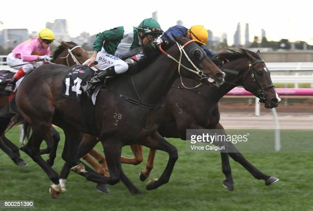 Dwayne Dunn riding Thaad wins Race 9 during Melbourne Racing at Flemington Racecourse on June 24 2017 in Melbourne Australia
