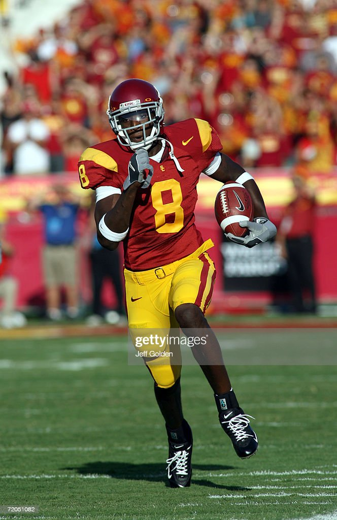 Dwayne Jarrett #8 of the University of Southern California Trojans runs with the football after a catch against the University of Nebraska Cornhuskers on September 16, 2006 at the Los Angeles Memorial Coliseum in Los Angeles, California. USC won 28-10.