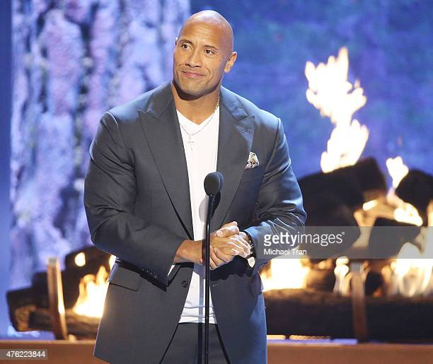 Dwayne Johnson aka The Rock speaks onstage during the Spike TV's 'Guys Choice 2015' held at Sony Pictures Studios on June 6 2015 in Culver City...