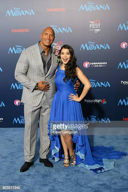 Dwayne Johnson and Auli'i Cravalho arrive at the AFI FEST 2016 presented by Audi premiere of Disney's 'Moana' held at the El Capitan Theatre on...