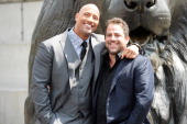 Dwayne Johnson and Brett Ratner attend a photocall for 'Hercules' at Trafalgar Square on July 2 2014 in London England